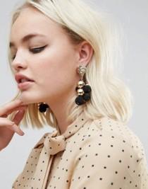 Asos Metal Nugget Bead and Drop Earrings