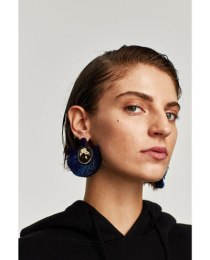 Zara Blue Circle Tassel Earrings
