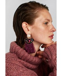 Zara Peal Fringe Earrings